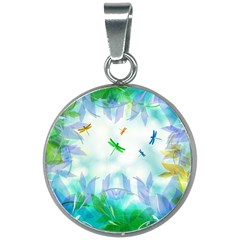 Scrapbooking Tropical Pattern 20mm Round Necklace