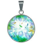 Scrapbooking Tropical Pattern 25mm Round Necklace Front