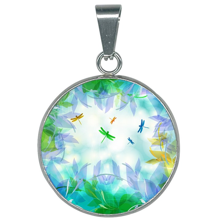 Scrapbooking Tropical Pattern 25mm Round Necklace