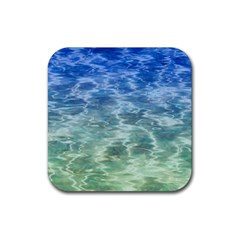 Water Blue Transparent Crystal Rubber Square Coaster (4 Pack)  by HermanTelo