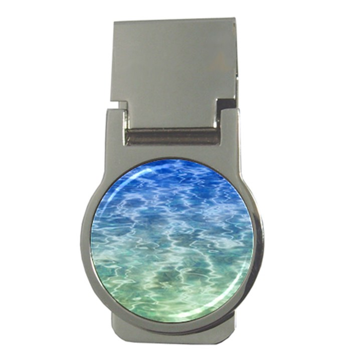 Water Blue Transparent Crystal Money Clips (Round)
