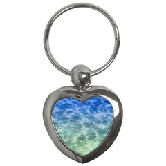 Water Blue Transparent Crystal Key Chain (heart)