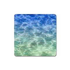 Water Blue Transparent Crystal Square Magnet by HermanTelo