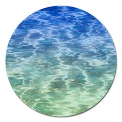 Water Blue Transparent Crystal Magnet 5  (round) by HermanTelo