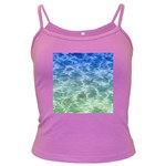 Water Blue Transparent Crystal Dark Spaghetti Tank Front