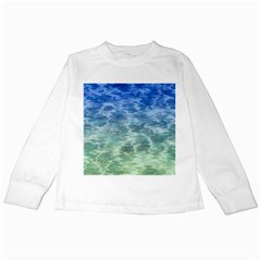 Water Blue Transparent Crystal Kids Long Sleeve T Shirts