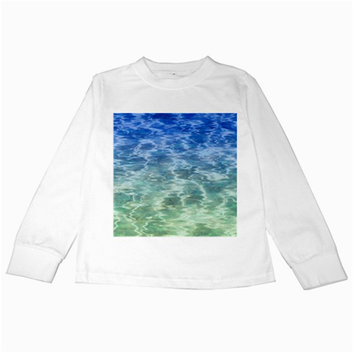 Water Blue Transparent Crystal Kids Long Sleeve T-Shirts