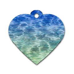 Water Blue Transparent Crystal Dog Tag Heart (one Side)