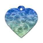Water Blue Transparent Crystal Dog Tag Heart (One Side) Front