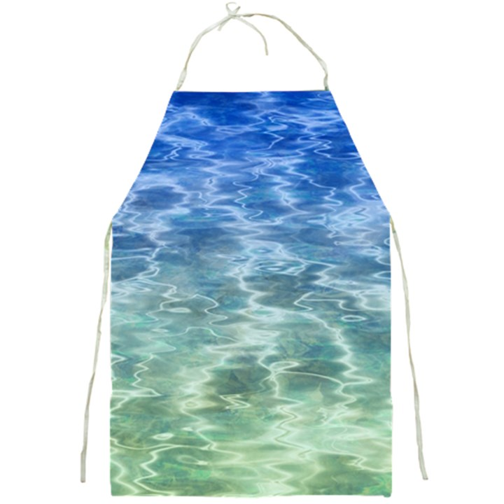 Water Blue Transparent Crystal Full Print Apron