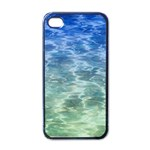 Water Blue Transparent Crystal iPhone 4 Case (Black) Front