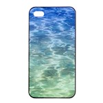 Water Blue Transparent Crystal iPhone 4/4s Seamless Case (Black) Front