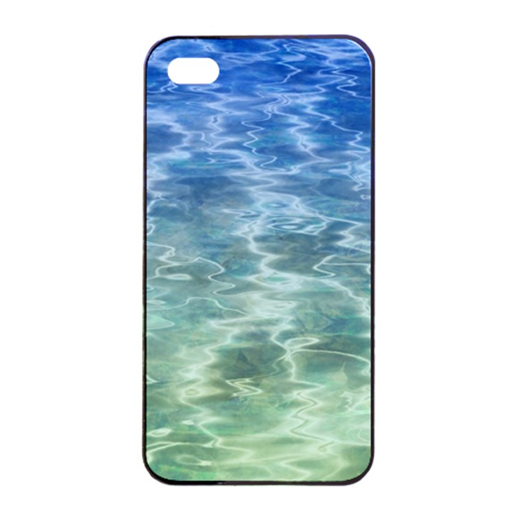 Water Blue Transparent Crystal iPhone 4/4s Seamless Case (Black)