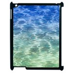 Water Blue Transparent Crystal Apple iPad 2 Case (Black) Front