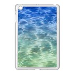 Water Blue Transparent Crystal Apple iPad Mini Case (White) Front