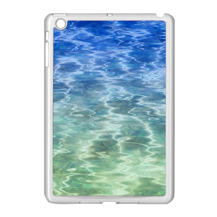 Water Blue Transparent Crystal Apple iPad Mini Case (White)