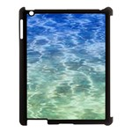 Water Blue Transparent Crystal Apple iPad 3/4 Case (Black) Front