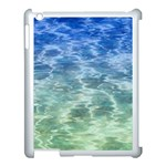 Water Blue Transparent Crystal Apple iPad 3/4 Case (White) Front