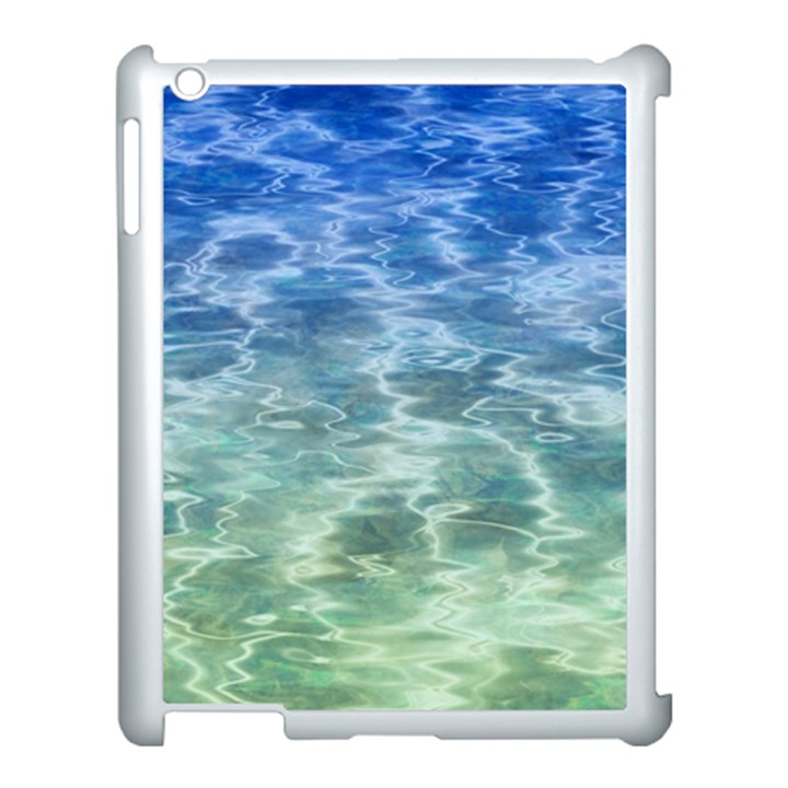Water Blue Transparent Crystal Apple iPad 3/4 Case (White)