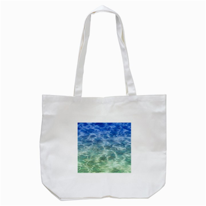 Water Blue Transparent Crystal Tote Bag (White)
