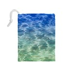 Water Blue Transparent Crystal Drawstring Pouch (Medium) Back