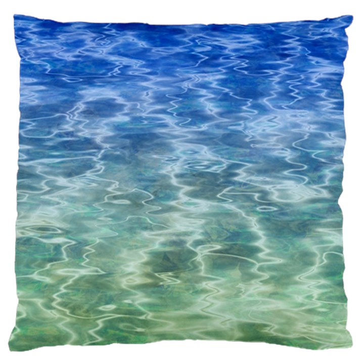 Water Blue Transparent Crystal Large Flano Cushion Case (One Side)