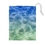 Water Blue Transparent Crystal Drawstring Pouch (XL) Front