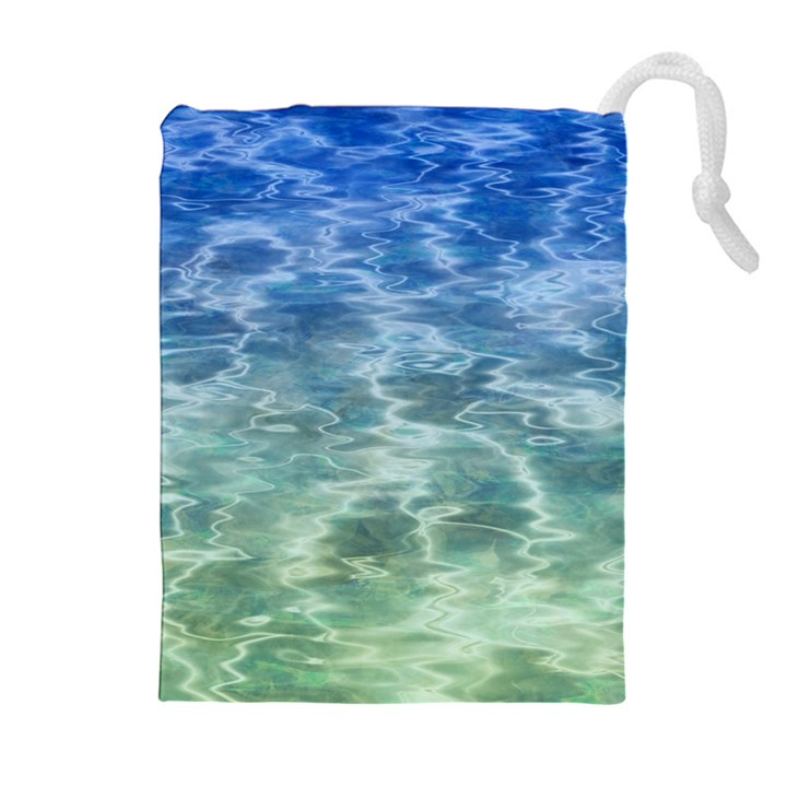 Water Blue Transparent Crystal Drawstring Pouch (XL)