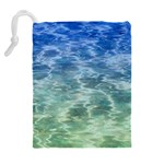 Water Blue Transparent Crystal Drawstring Pouch (XL) Back