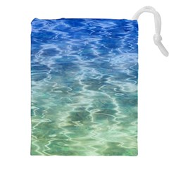 Water Blue Transparent Crystal Drawstring Pouch (xxl)