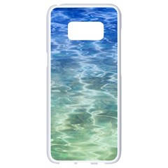 Water Blue Transparent Crystal Samsung Galaxy S8 White Seamless Case by HermanTelo