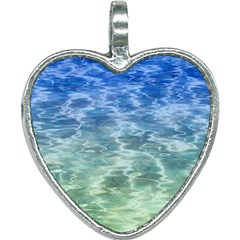 Water Blue Transparent Crystal Heart Necklace