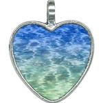 Water Blue Transparent Crystal Heart Necklace Front