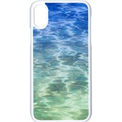 Water Blue Transparent Crystal Iphone Xs Seamless Case (white)