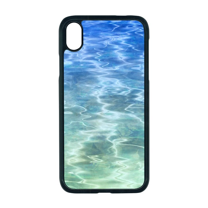 Water Blue Transparent Crystal iPhone XR Seamless Case (Black)