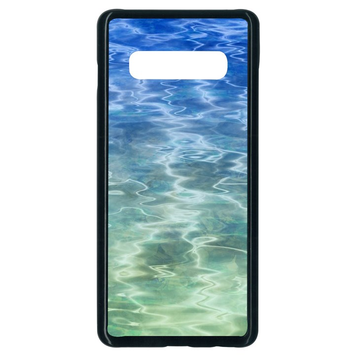 Water Blue Transparent Crystal Samsung Galaxy S10 Plus Seamless Case (Black)