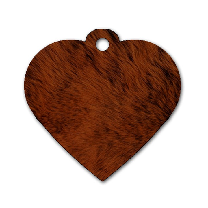 Fur Skin Bear Dog Tag Heart (One Side)
