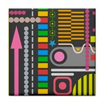 Pattern Geometric Abstract Colorful Arrows Lines Circles Triangles Tile Coaster Front