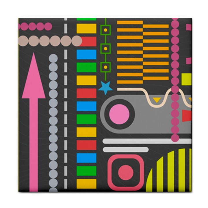 Pattern Geometric Abstract Colorful Arrows Lines Circles Triangles Tile Coaster