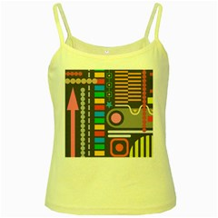 Pattern Geometric Abstract Colorful Arrows Lines Circles Triangles Yellow Spaghetti Tank