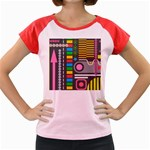Pattern Geometric Abstract Colorful Arrows Lines Circles Triangles Women s Cap Sleeve T-Shirt Front