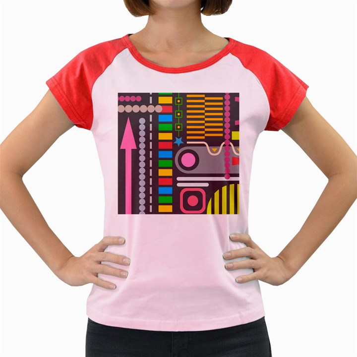 Pattern Geometric Abstract Colorful Arrows Lines Circles Triangles Women s Cap Sleeve T-Shirt