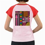 Pattern Geometric Abstract Colorful Arrows Lines Circles Triangles Women s Cap Sleeve T-Shirt Back