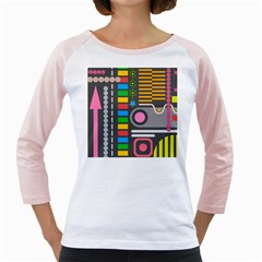 Pattern Geometric Abstract Colorful Arrows Lines Circles Triangles Girly Raglan