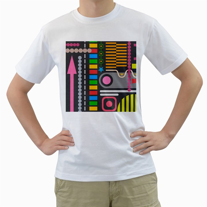 Pattern Geometric Abstract Colorful Arrows Lines Circles Triangles Men s T-Shirt (White) (Two Sided)
