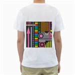 Pattern Geometric Abstract Colorful Arrows Lines Circles Triangles Men s T-Shirt (White) (Two Sided) Back