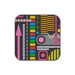 Pattern Geometric Abstract Colorful Arrows Lines Circles Triangles Rubber Square Coaster (4 pack)  Front