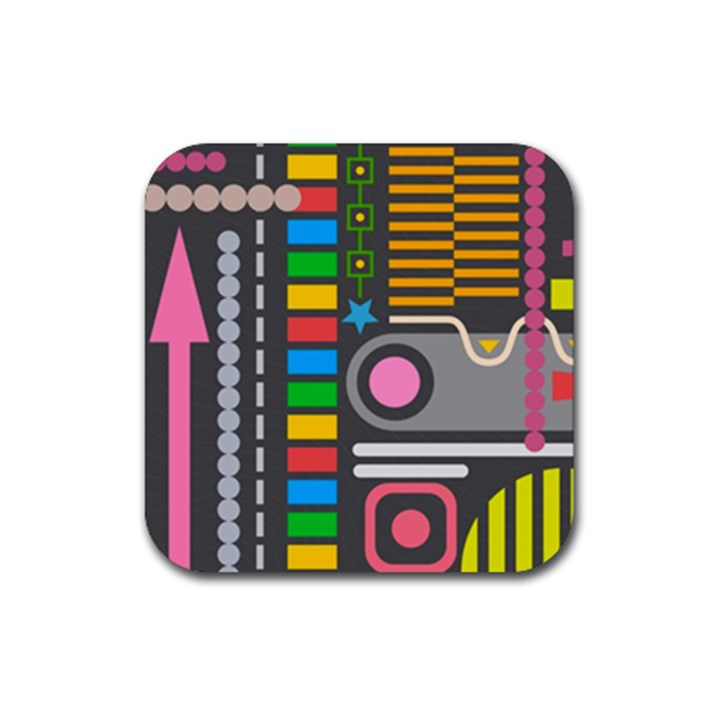Pattern Geometric Abstract Colorful Arrows Lines Circles Triangles Rubber Square Coaster (4 pack)