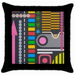 Pattern Geometric Abstract Colorful Arrows Lines Circles Triangles Throw Pillow Case (Black) Front