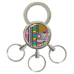 Pattern Geometric Abstract Colorful Arrows Lines Circles Triangles 3 Ring Key Chain